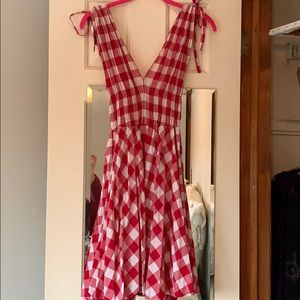 Red white checkered dress